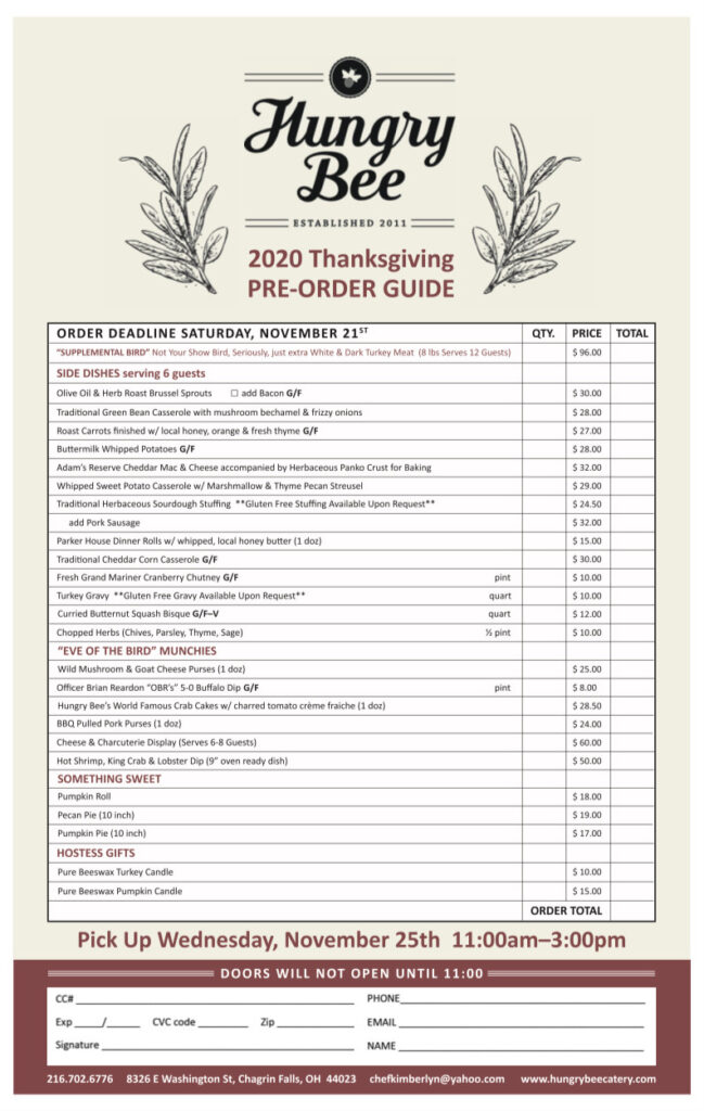 Hungry Bee Thanksgiving 2020 Pre-Order Guide